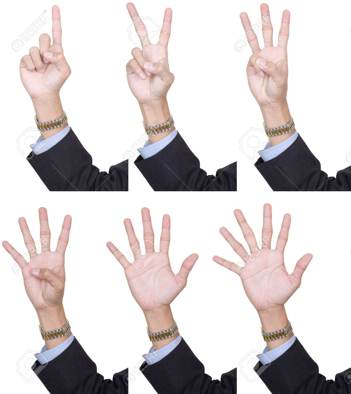 Collection of 6 identical hands in business suit, palm forward, counting fingers one to six. Isolated over white, can be extracted individually. Stock Photo - 6499973