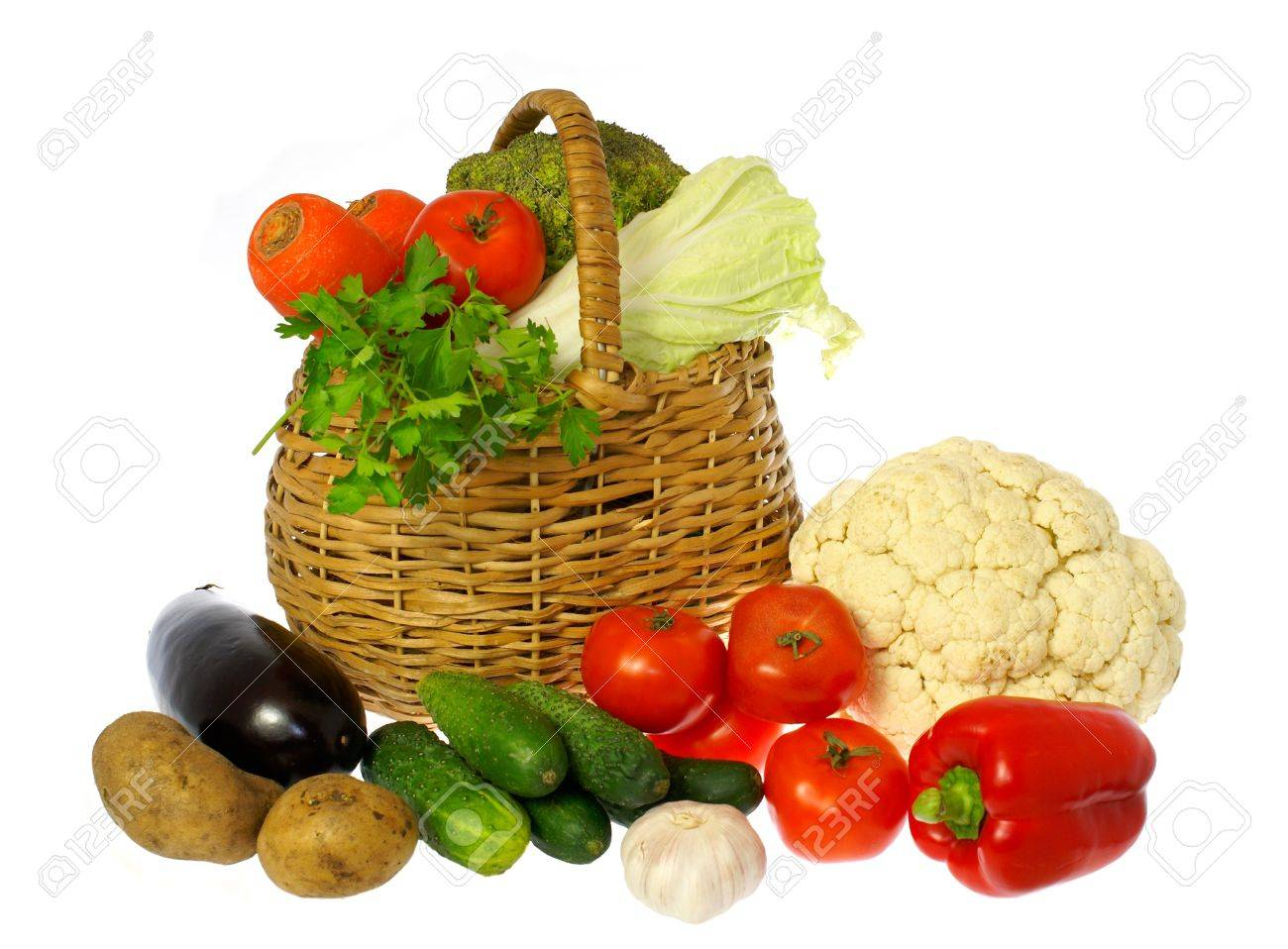 Vegetables and basket Stock Photo - 1253836