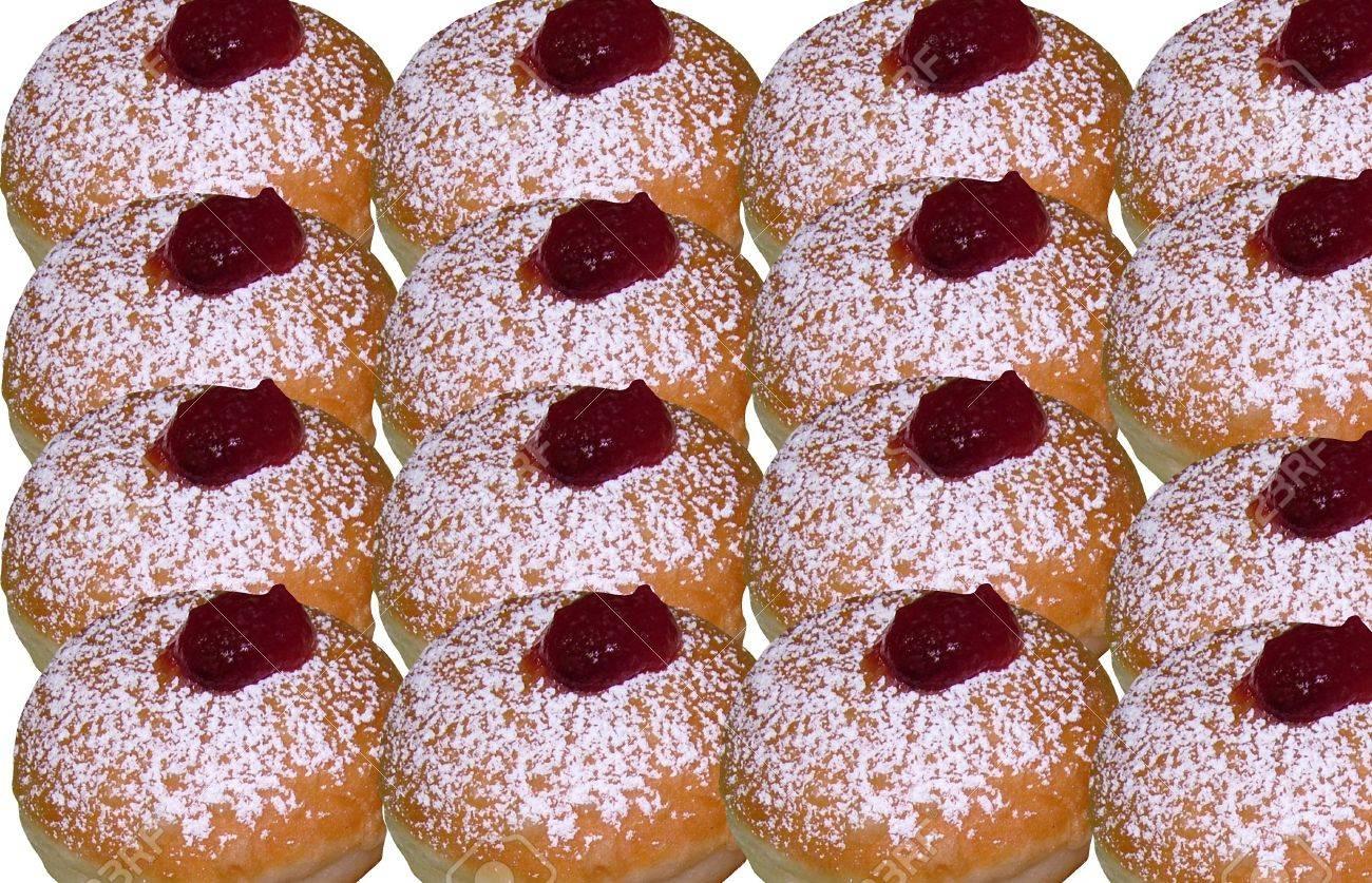 Donuts with jam,  traditional Jewish Hanukkah holiday sweet baking Stock Photo - 16789929