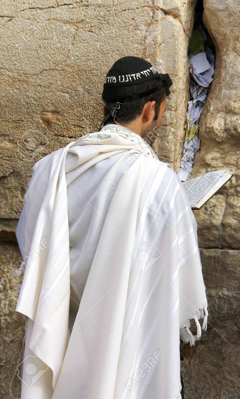 Jewish worshiper  pray at the Wailing Wall an important jewish religious site   in Jerusalem, Israel  Stock Photo - 17356608