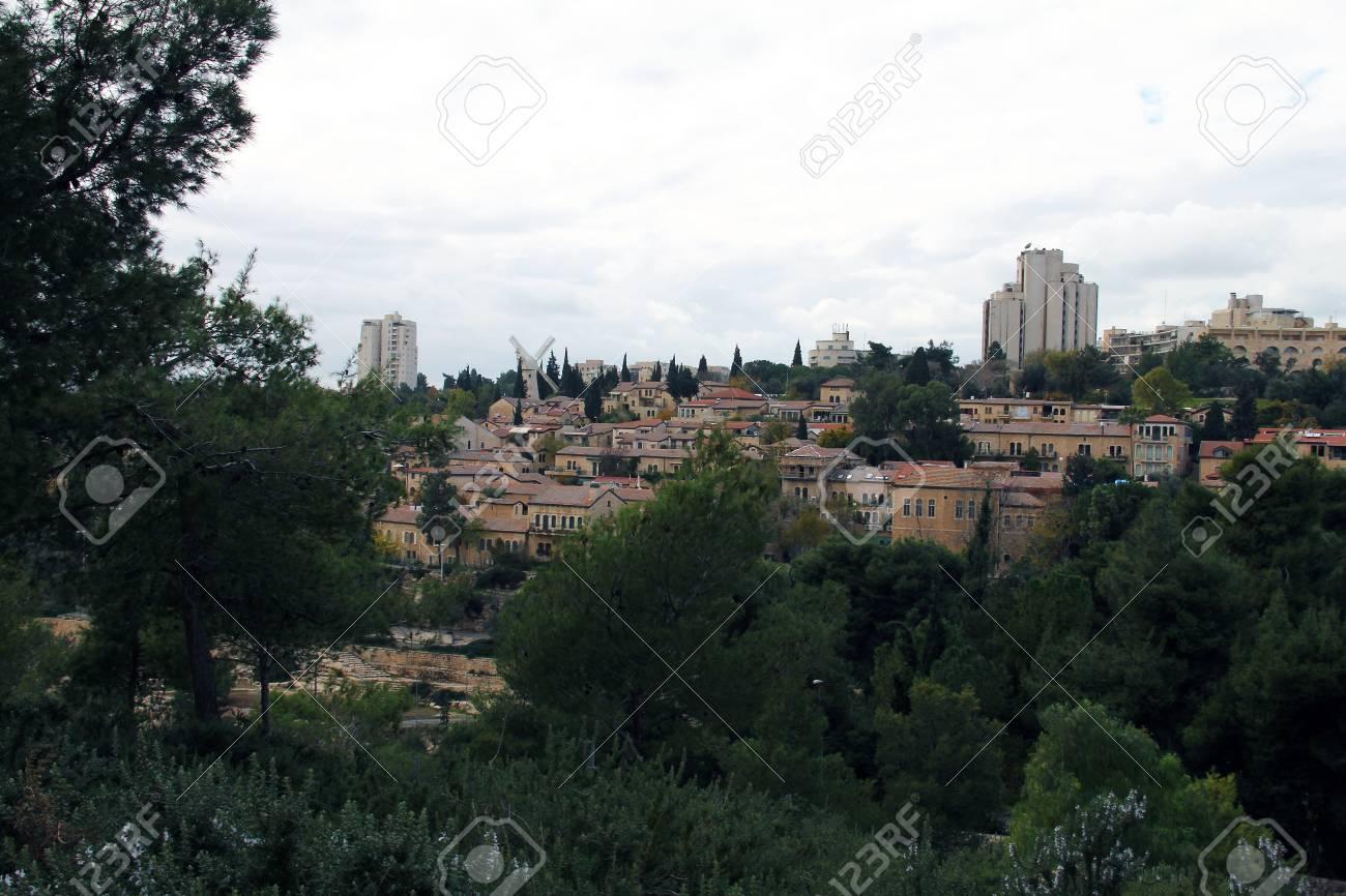 Panorama of West Jerusalem  Yemin Moshe neighborhood , Israel Stock Photo - 17430802