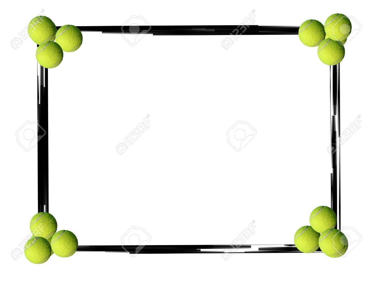 Black Grunge Border Frame And Tennis Balls On White Background Stock