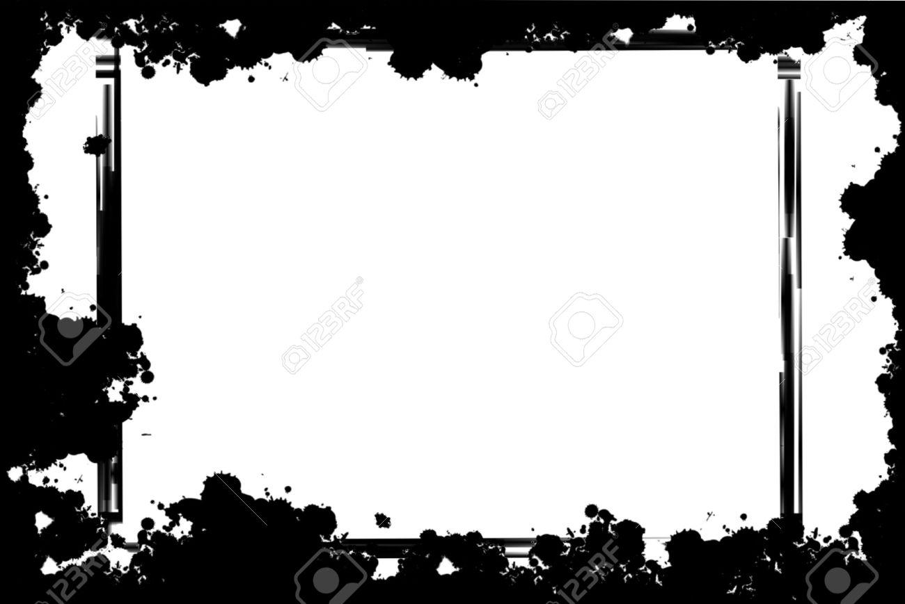 Préférence Cadre Noir Grunge Frontière Sur Fond Blanc Banque D'Images Et  OB01