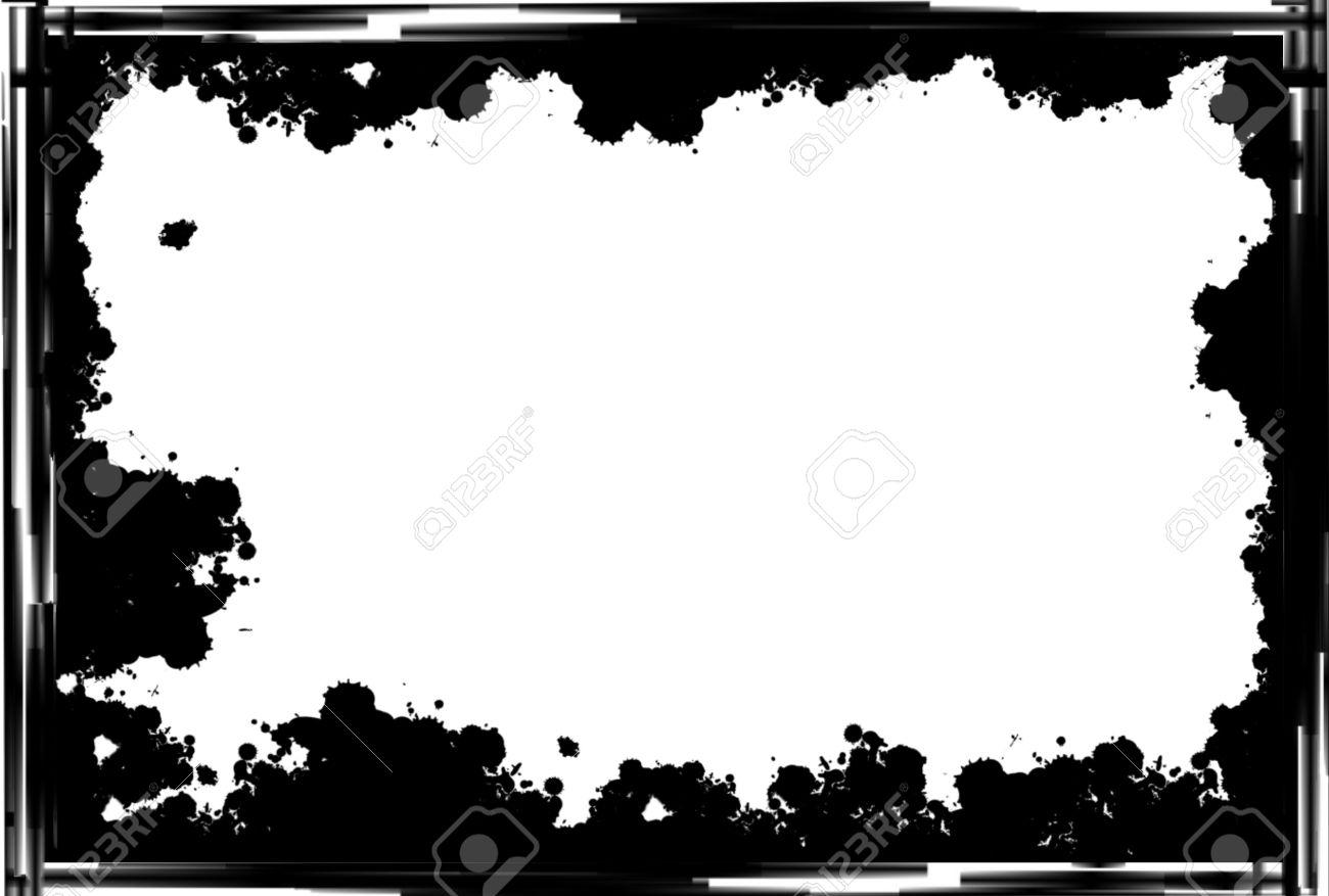 Préférence Cadre Noir Grunge Fronti?re Sur Fond Blanc Banque D'Images Et  OB01