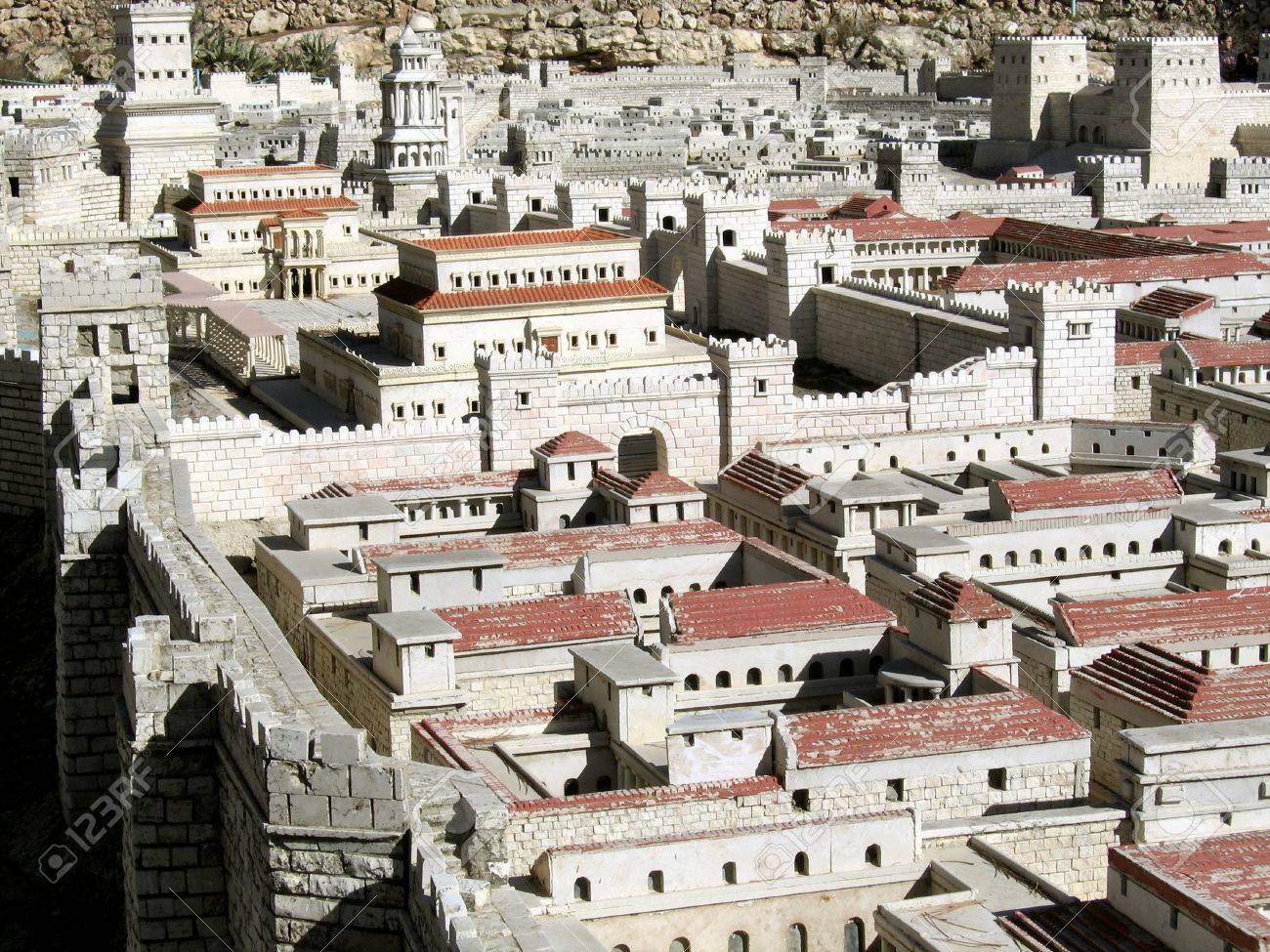 palaces of the high priest caiaphas and herod in the background