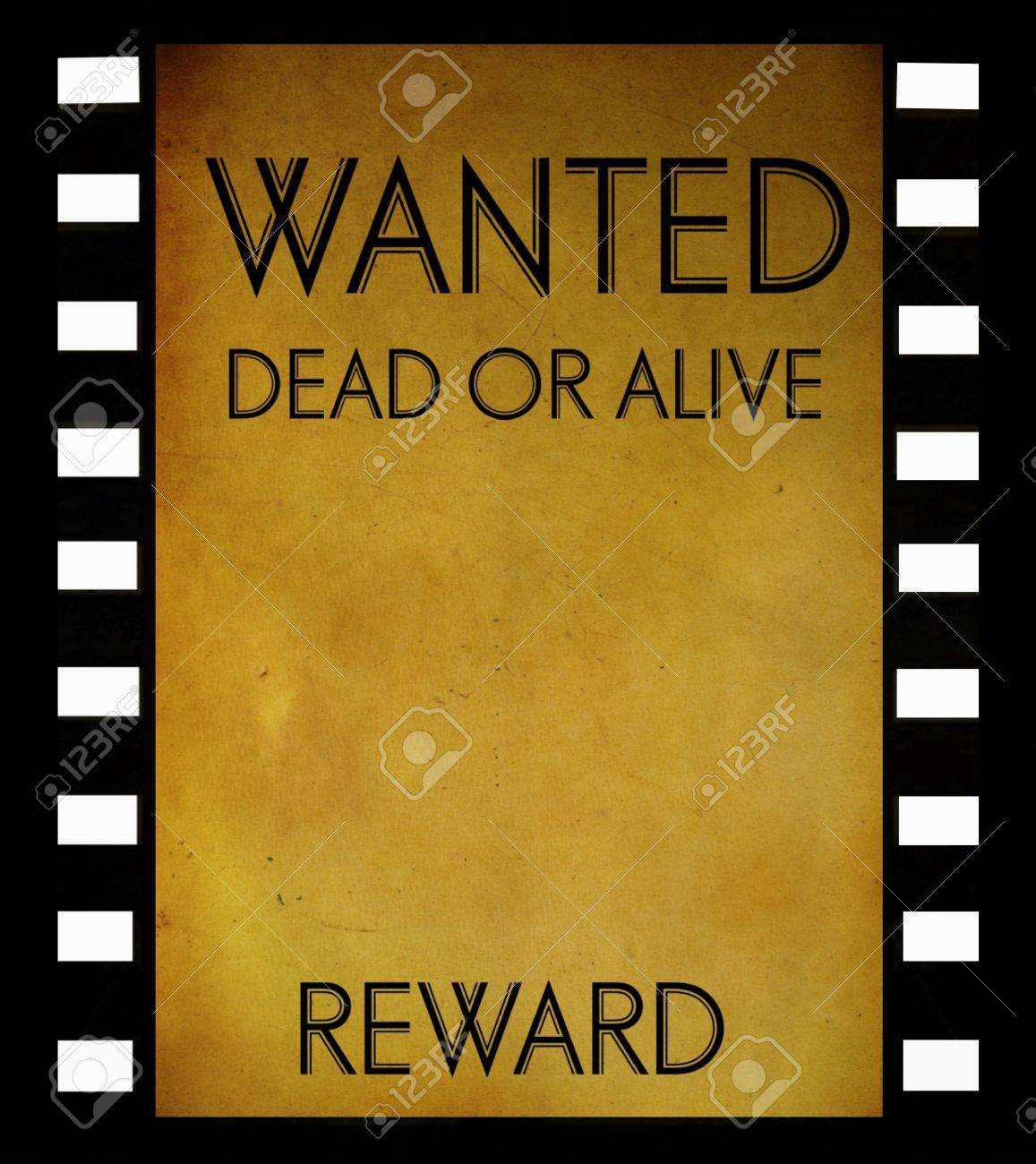 Wanted Template | Vintage Wanted Poster Template On Film Strip Background Stock Photo