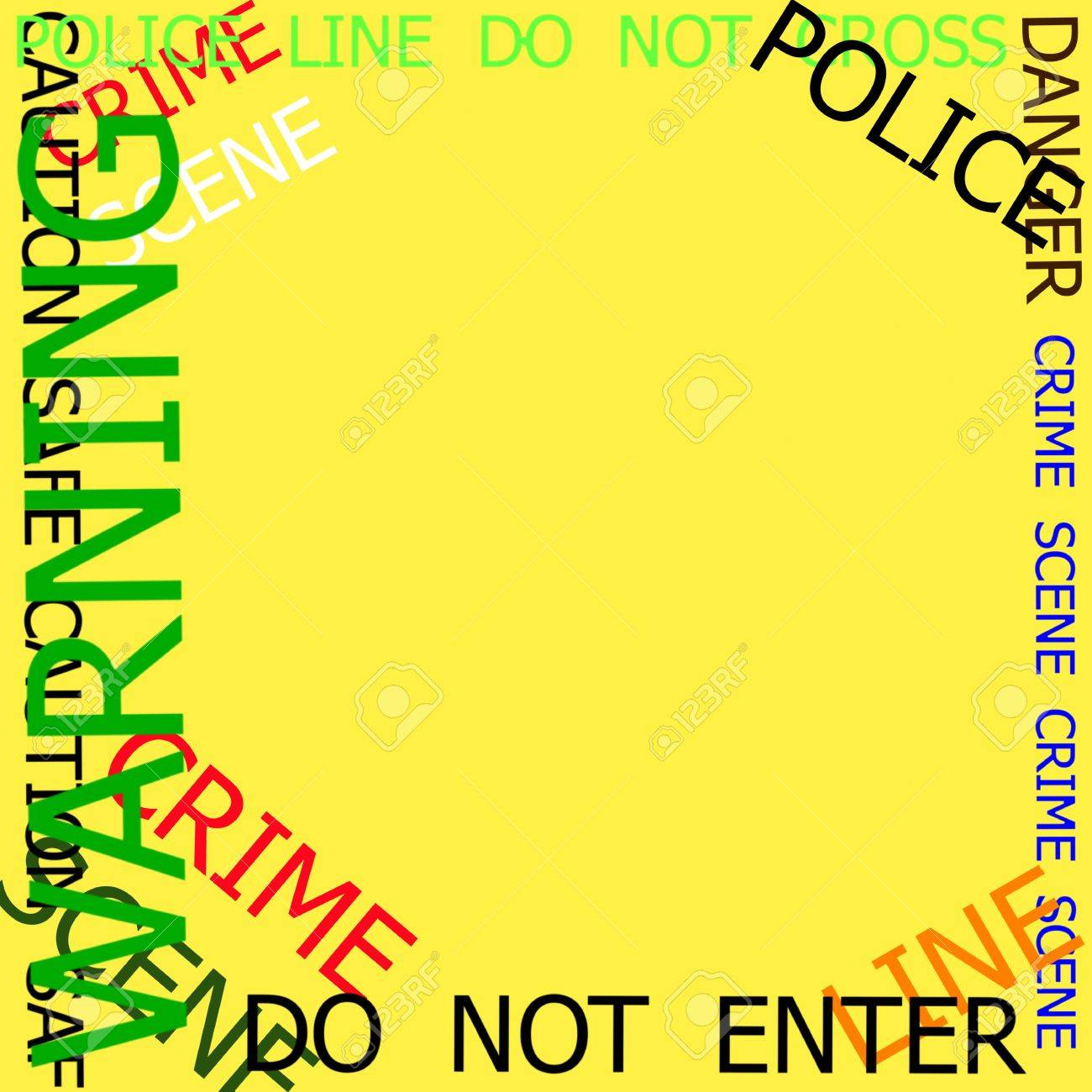 Warning, Caution, Crime, Police Signs Frame On Yellow Background ...