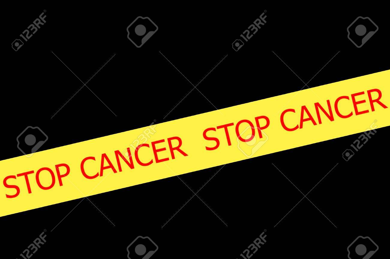 Yellow tape with  slogan STOP CANCER on white background Stock Photo - 28094510