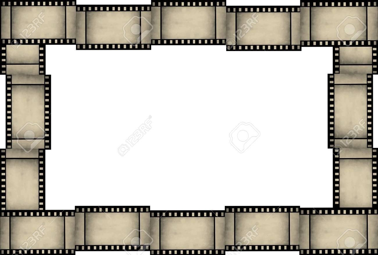 Abstract Grunge Filmstreifen Rahmen Auf Weißem Hintergrund ...