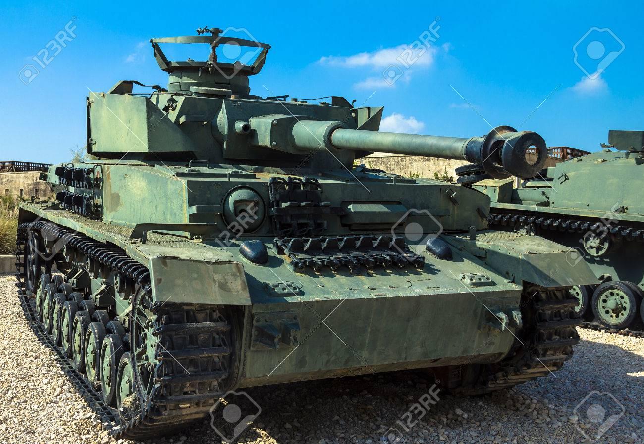 German made Panzer PzKpfw IV medium battle tank captured by IDF