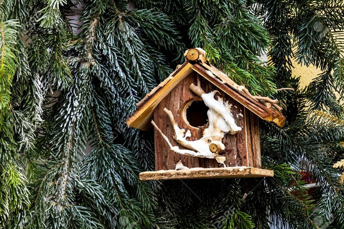 Christmas Decoration With Wooden Nesting Box At The Street ...