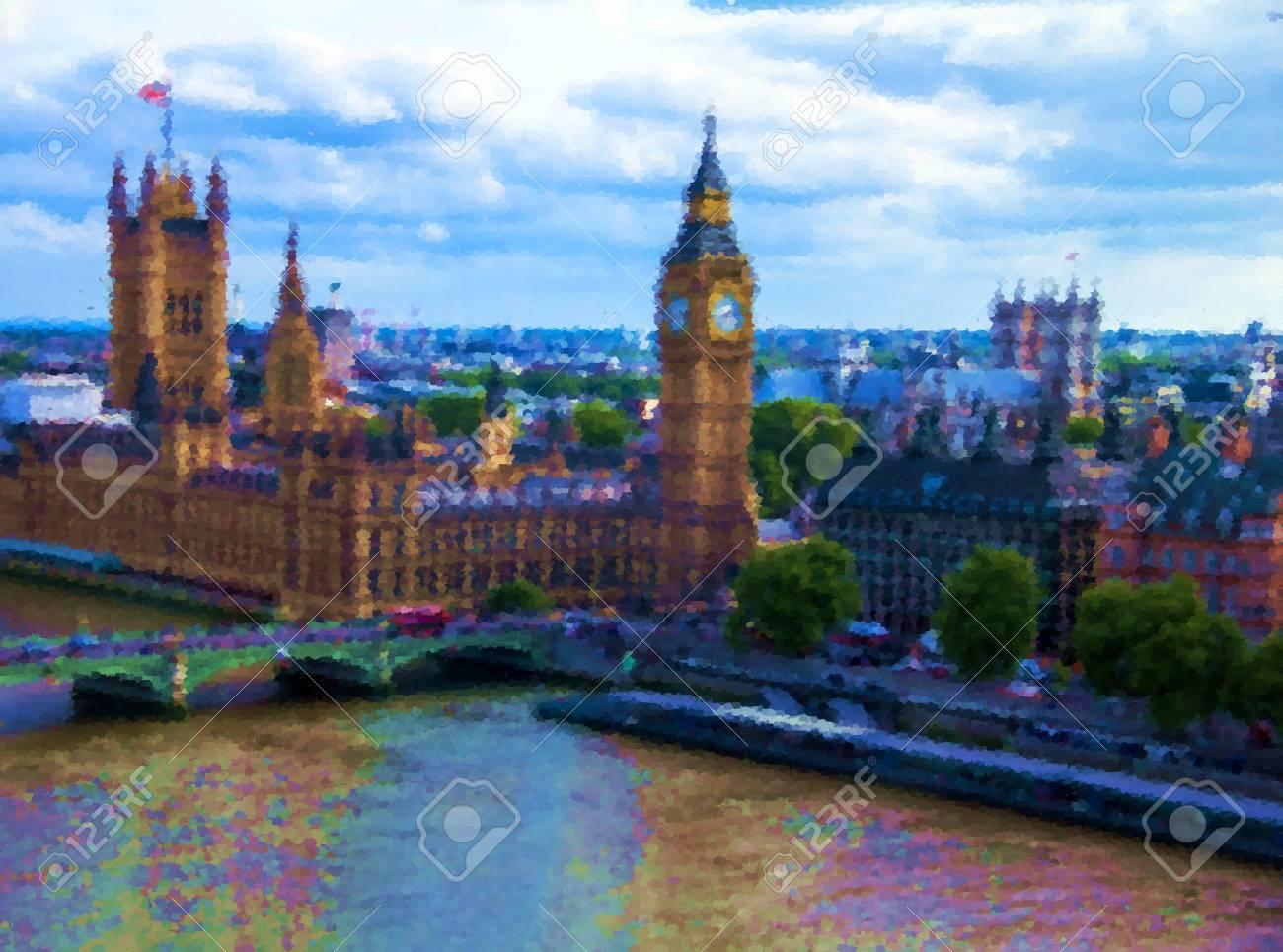 Paisaje Urbano De London Eye Con Casas Del Parlamento El Big Ben Y