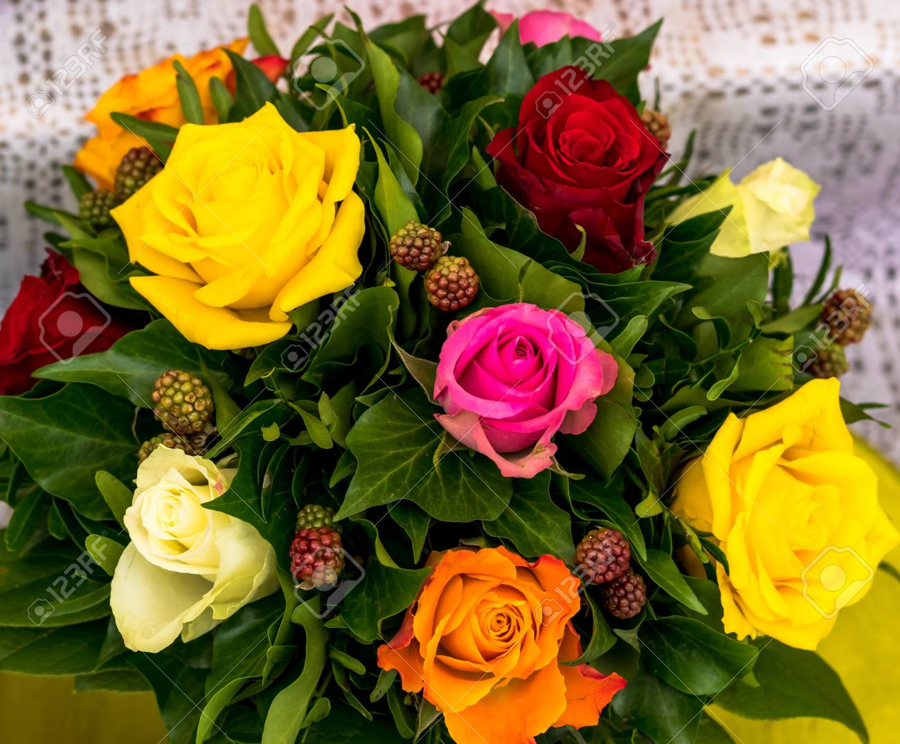 Bouquet Of Different Color Roses In Flower Shop On Open Air At ...