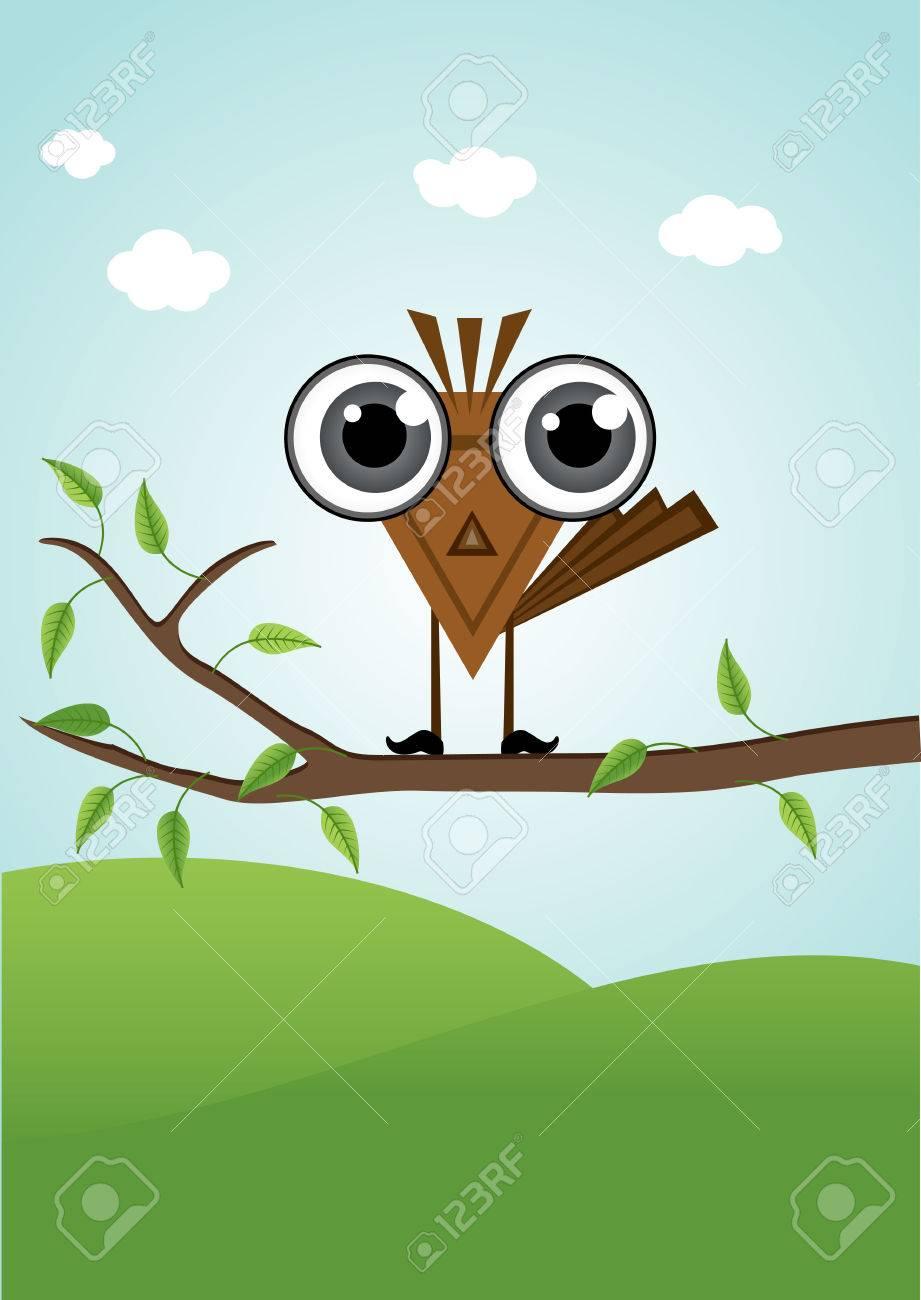 Illustration De Personnage De Dessin Anime Drole Petit Oiseau Mignon