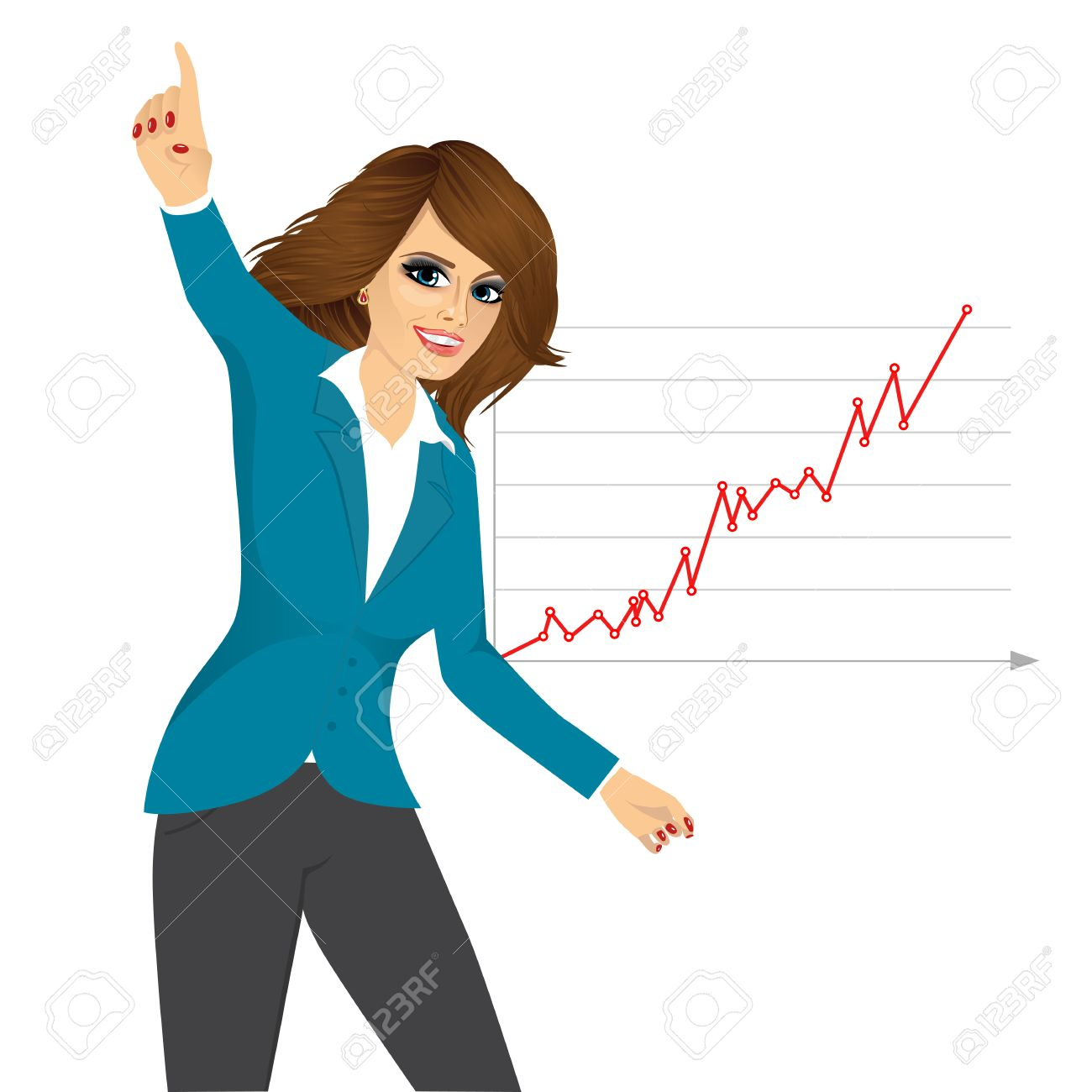 portrait of successful young business w happy for her success vector portrait of successful young business w happy for her success