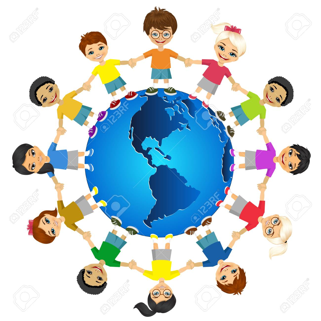 Kids Of The World. International Friendship Day. Earth Day. Vector ...