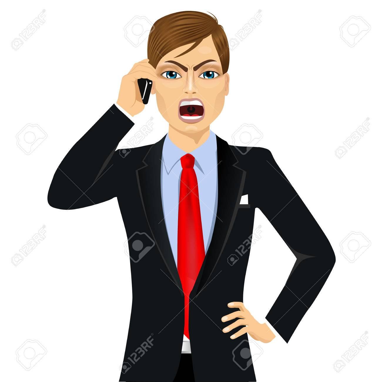 fbf6e0b14c0a Banque d images - Portrait d homme d affaires colère dans un costume parler  sur téléphone mobile isolé sur fond blanc