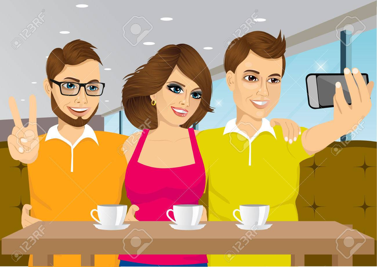 illustration of young people taking a selfie at a coffee shop - 47541919