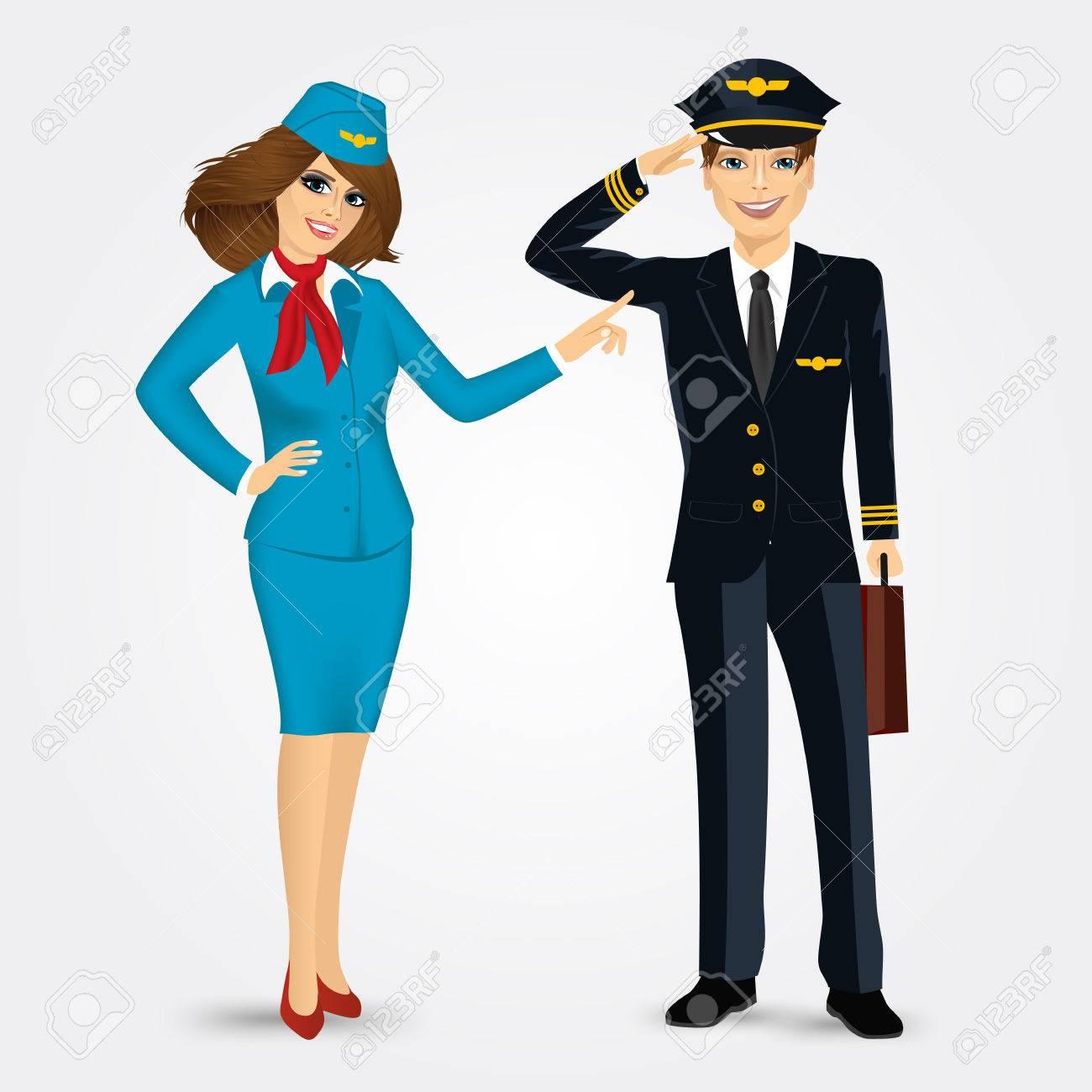 Portrait D Un Pilote Et Hotesse De L Air En Uniforme Isole Sur