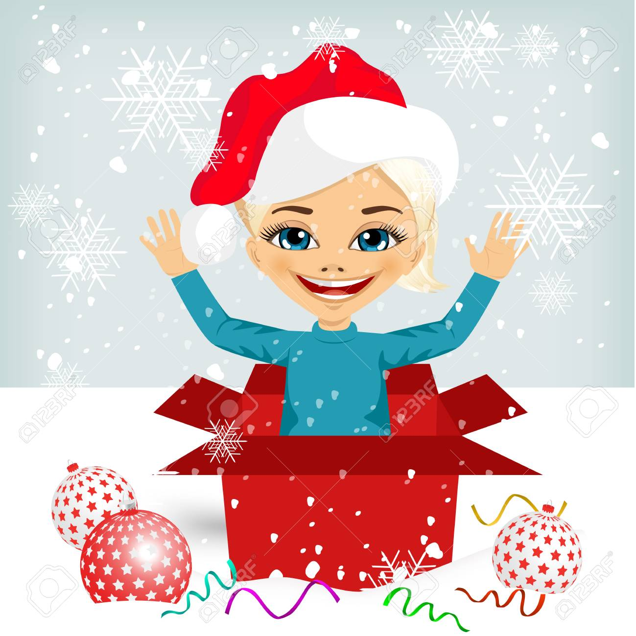 350340a6a632 cute little girl wearing christmas hat coming out of inside christmas red  gift box Stock Vector