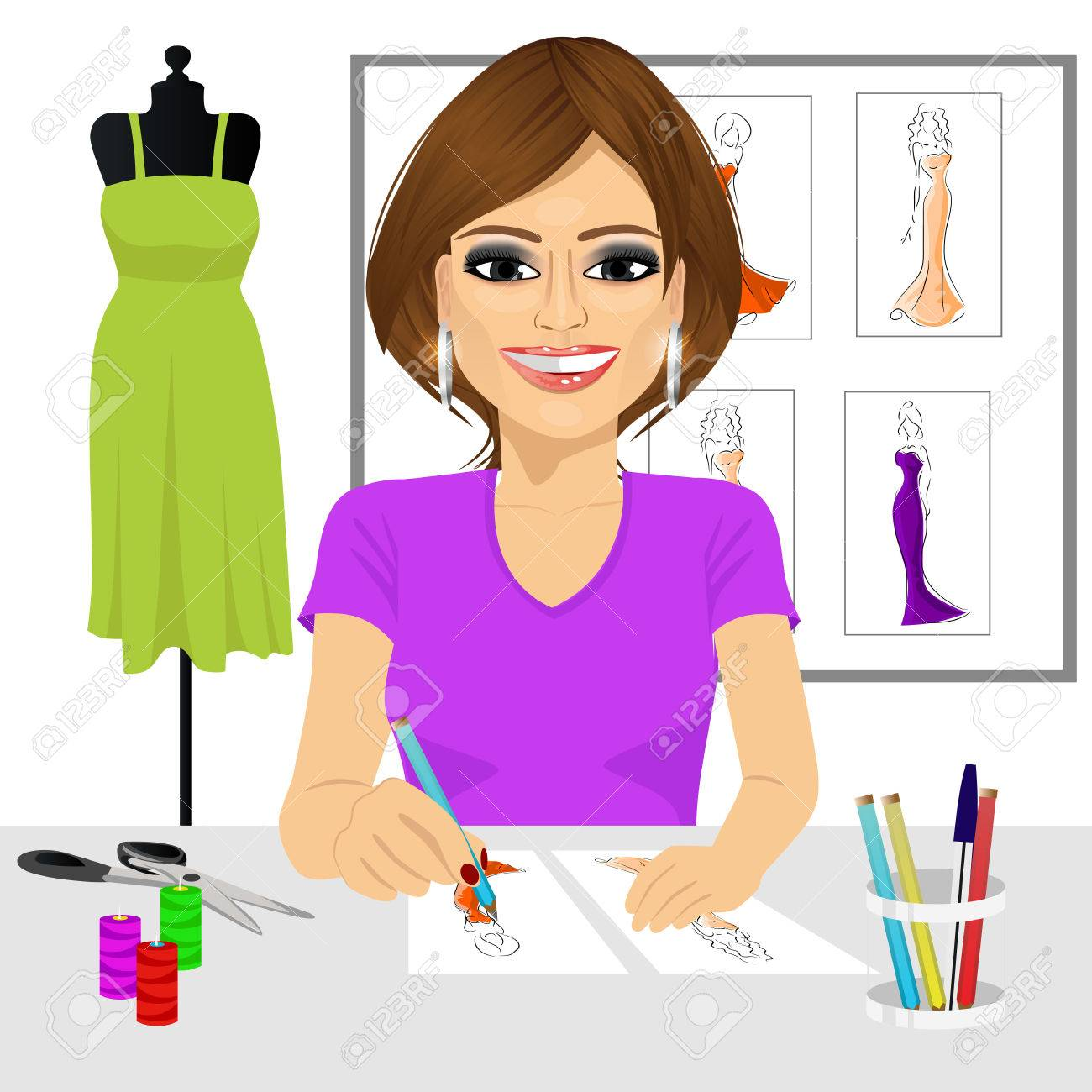 Friendly Young Latin Fashion Designer Drawing Dress Design Sketches Royalty Free Cliparts Vectors And Stock Illustration Image 49176567