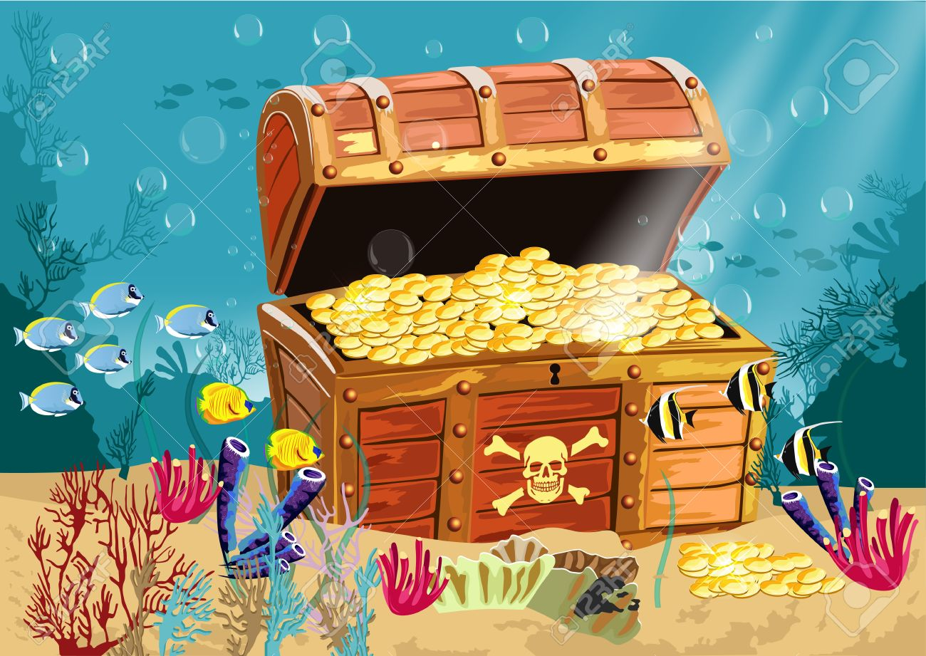 illustration of underwater scenery with an open pirate treasure