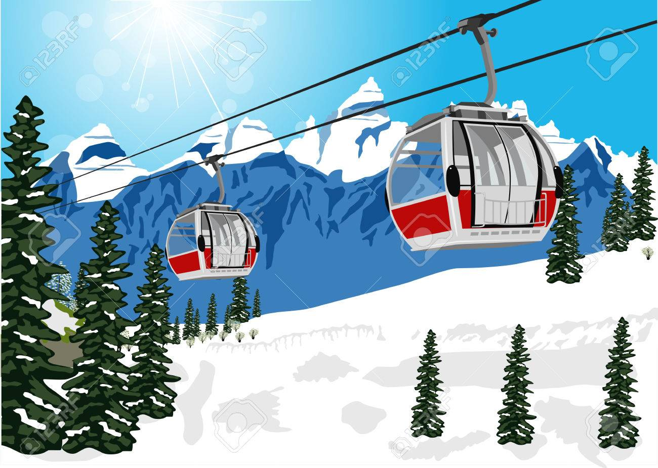 illustration of wonderful winter scenery with ski lift cable booth or car - 51207517
