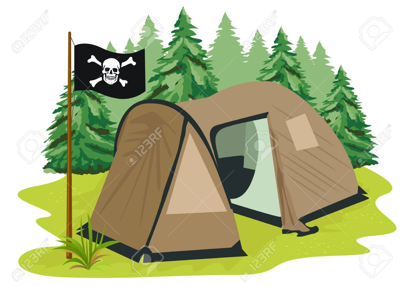 Illustration Of A Brown Camping Tent With Pirate Flag Standing On Glade The Background