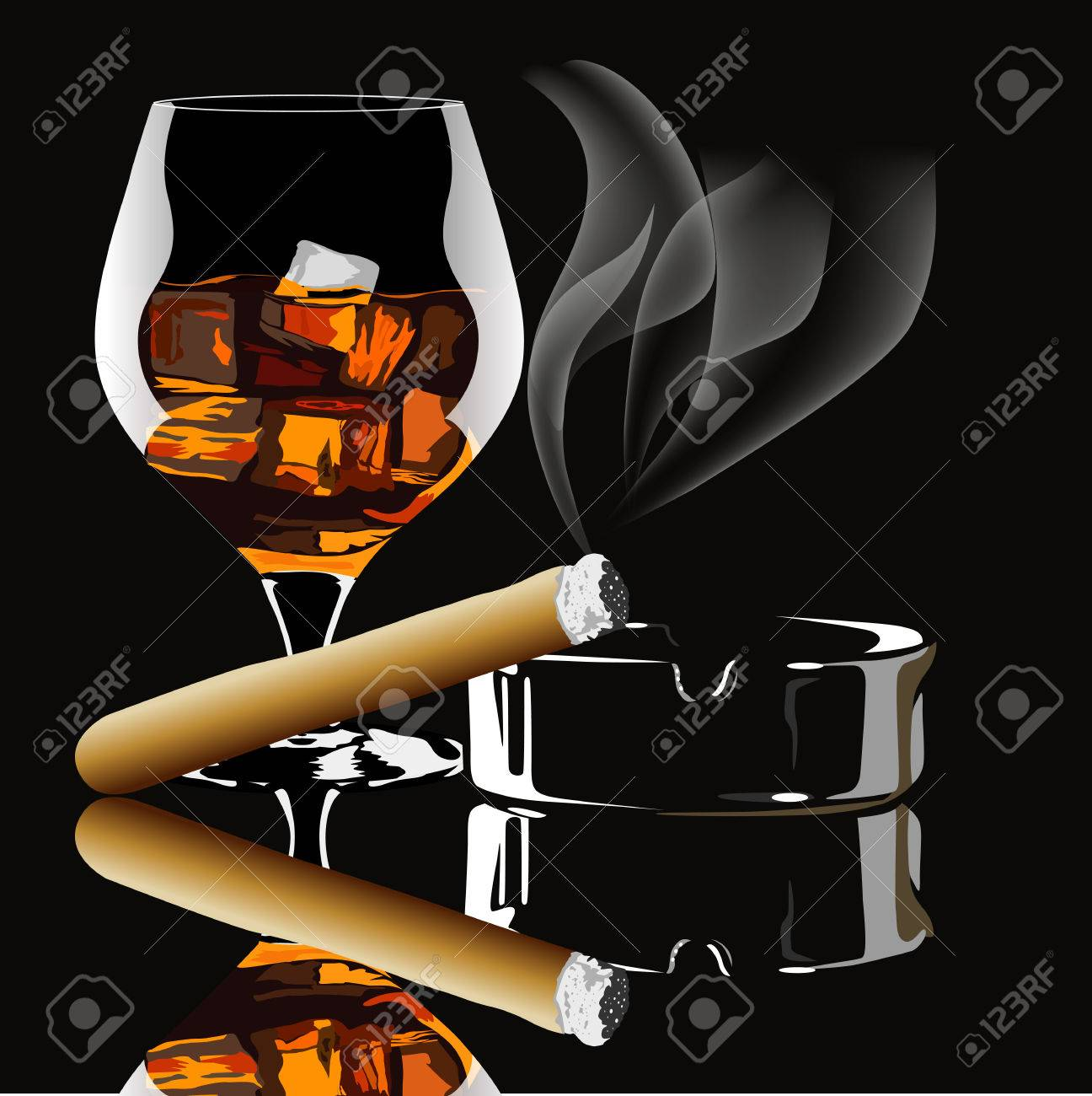 Cognac and cigar with smoke on black background - 51907374