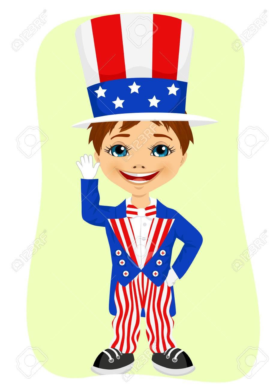 Ein Junge Gekleidet Wie Uncle Sam Auf. 4. Juli Kostüm Lizenzfreie ...