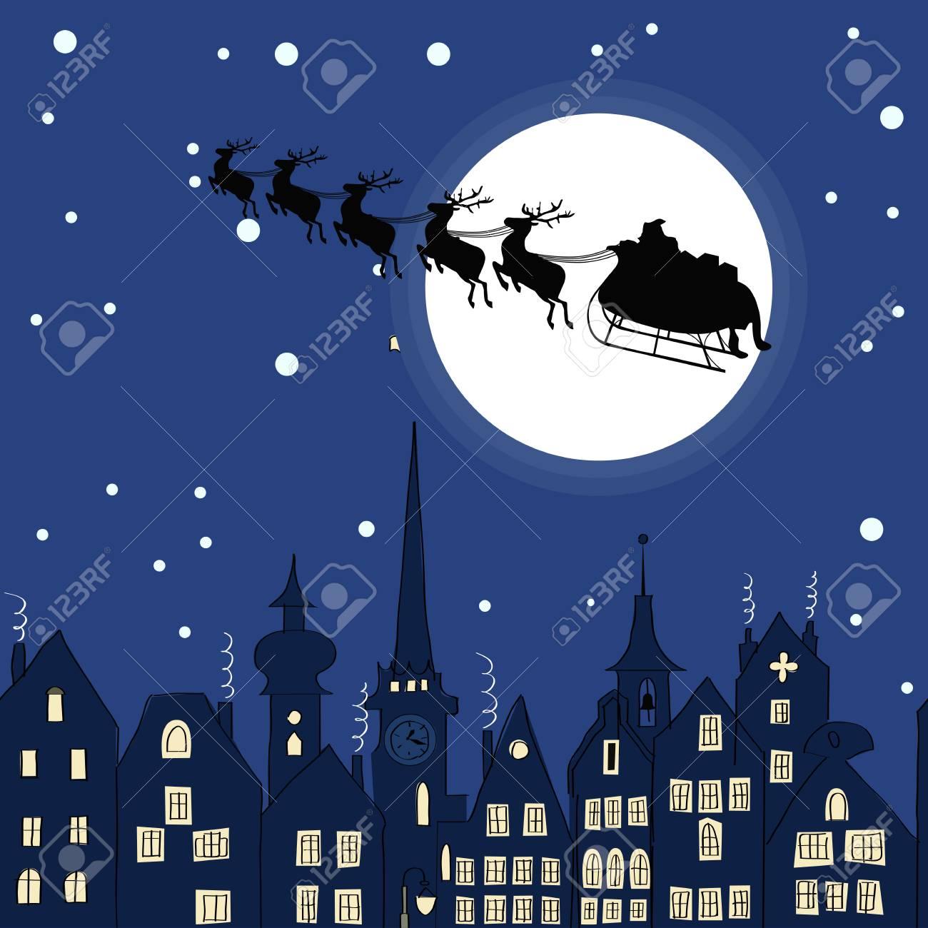 Babbo Natale Con Le Renne.Vettoriale Babbo Natale Con Le Renne Slitta Attraverso Una Notte