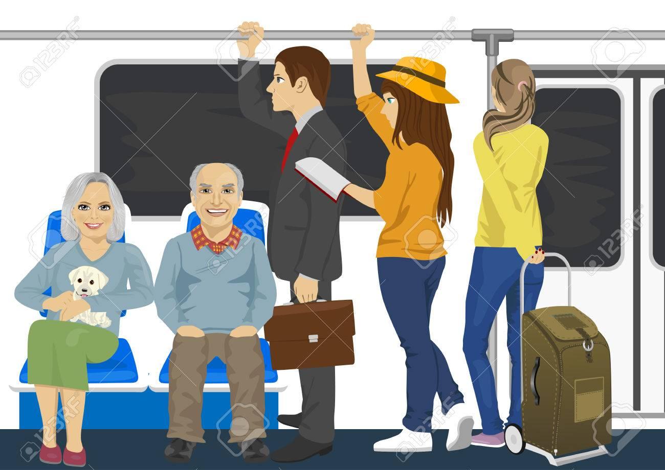 多様な人々 が地下鉄電車内のイラスト素材ベクタ Image 58217656