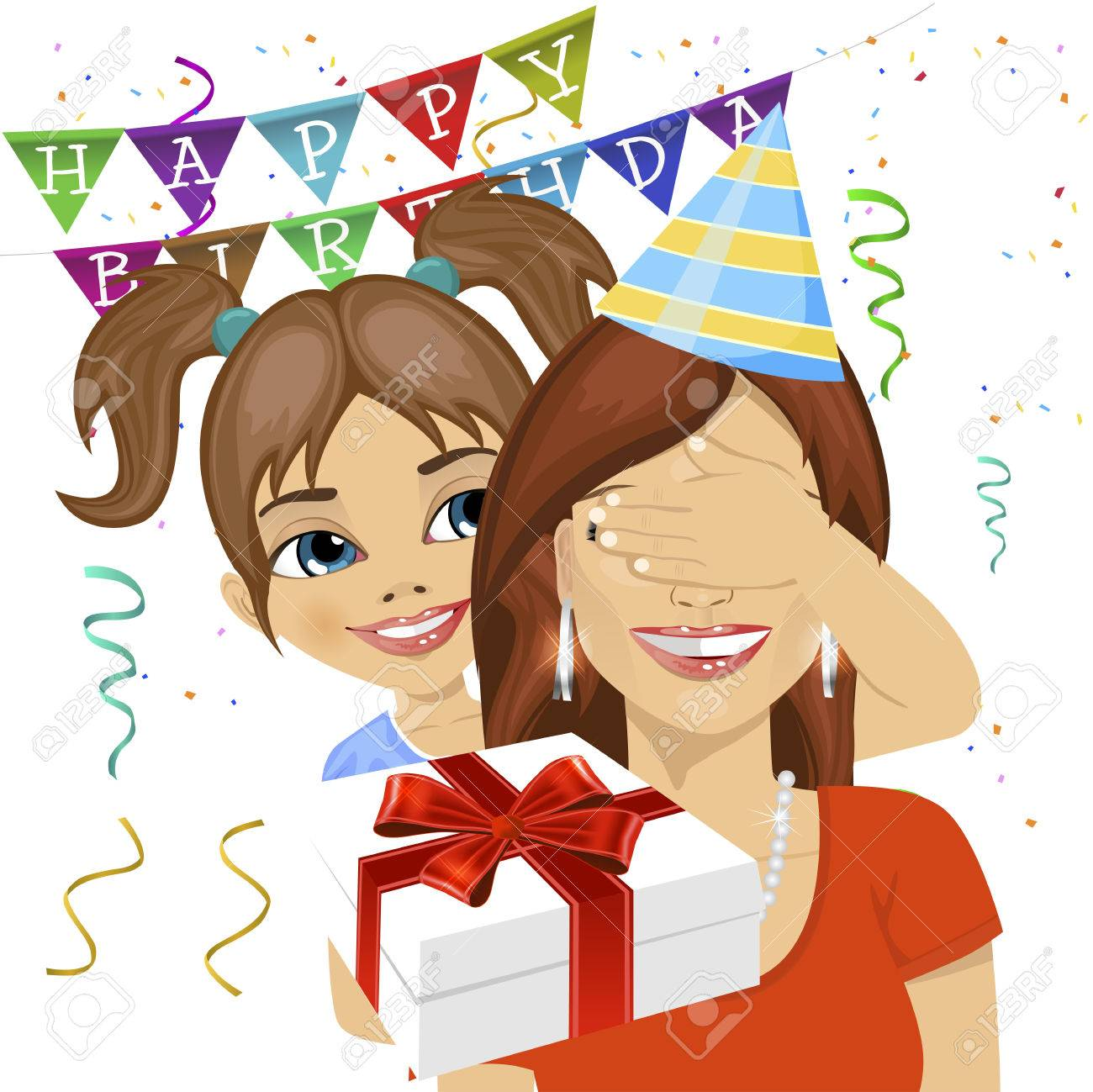 Cute Daughter Covering Her Mother Eyes Giving A Surprise Gift At Birthday Anniversary Party Stock Vector