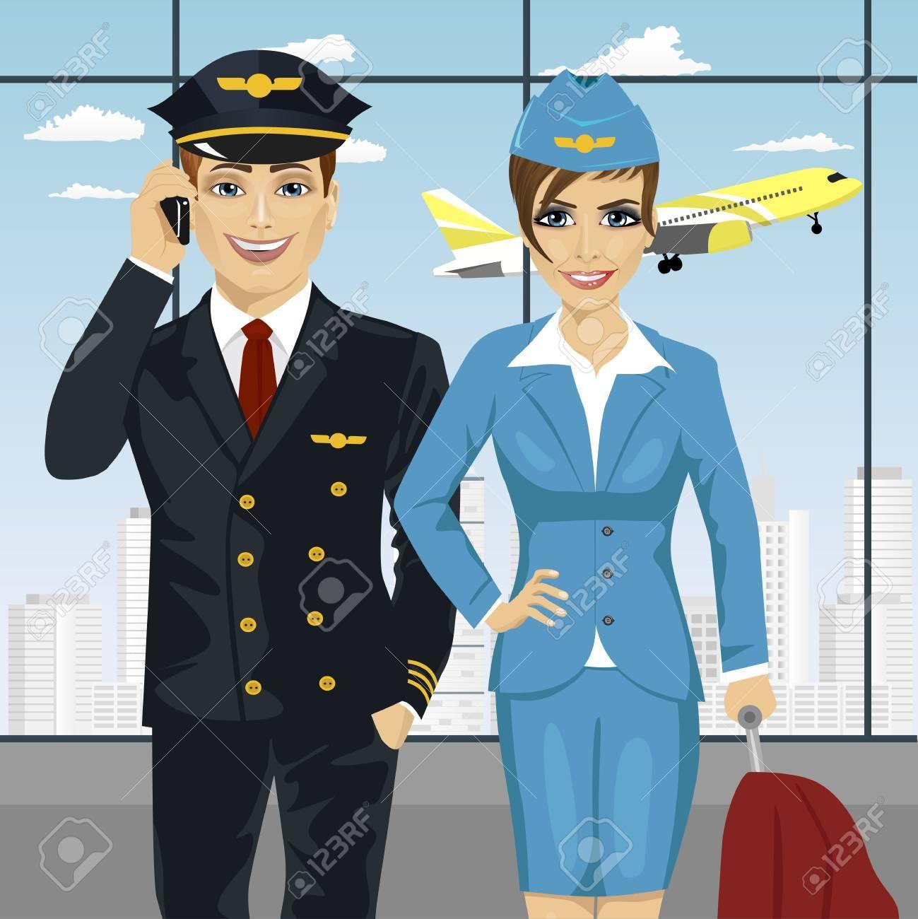 Pilote Et Hotesse De L Air En Uniforme A L Aeroport Clip Art