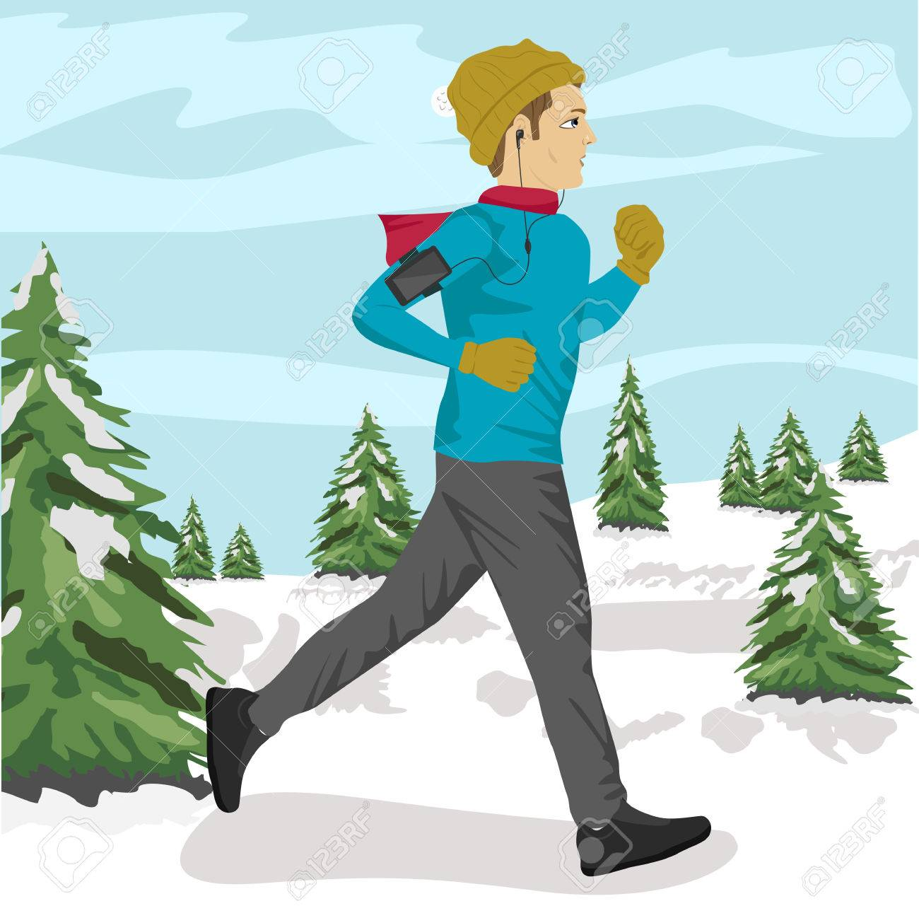 Young sportsman jogging outside in winter park listening to music young sportsman jogging outside in winter park listening to music on smartphone stock vector 63820132 voltagebd Images
