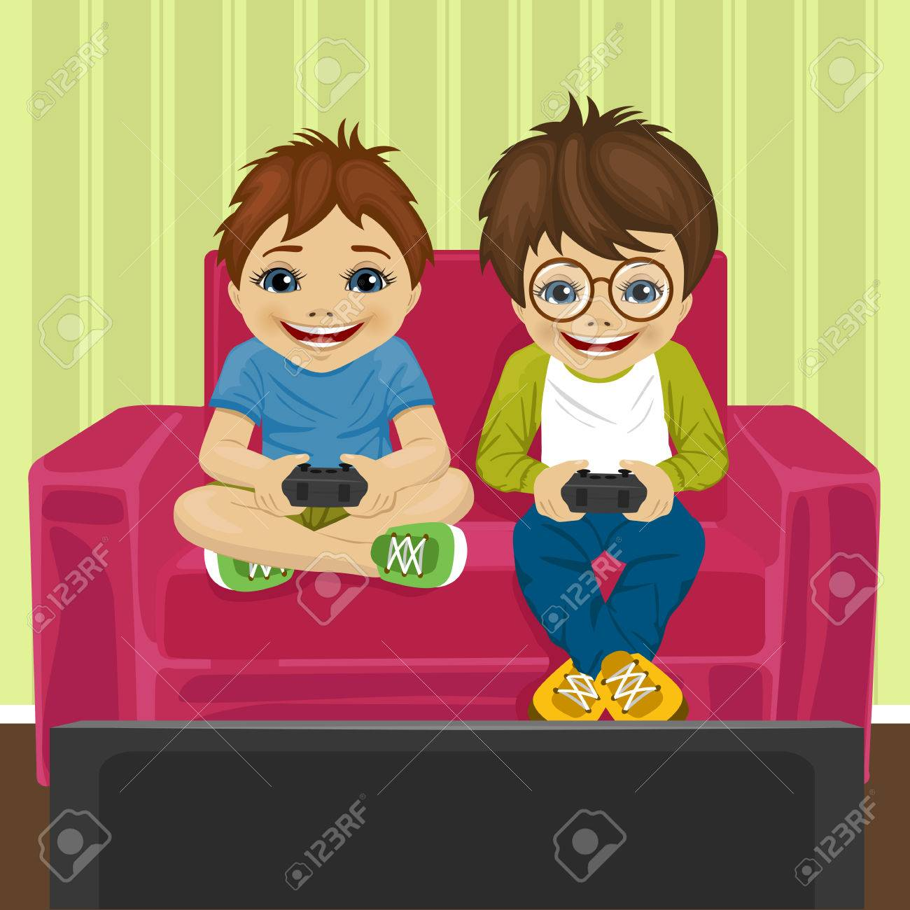 Friends Playing Video Game At Home Sitting On Sofa Royalty Free