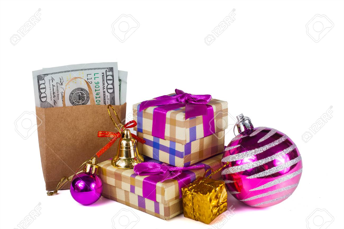 Boxes With Gifts And Christmas Tree Ornaments On A White Background ...
