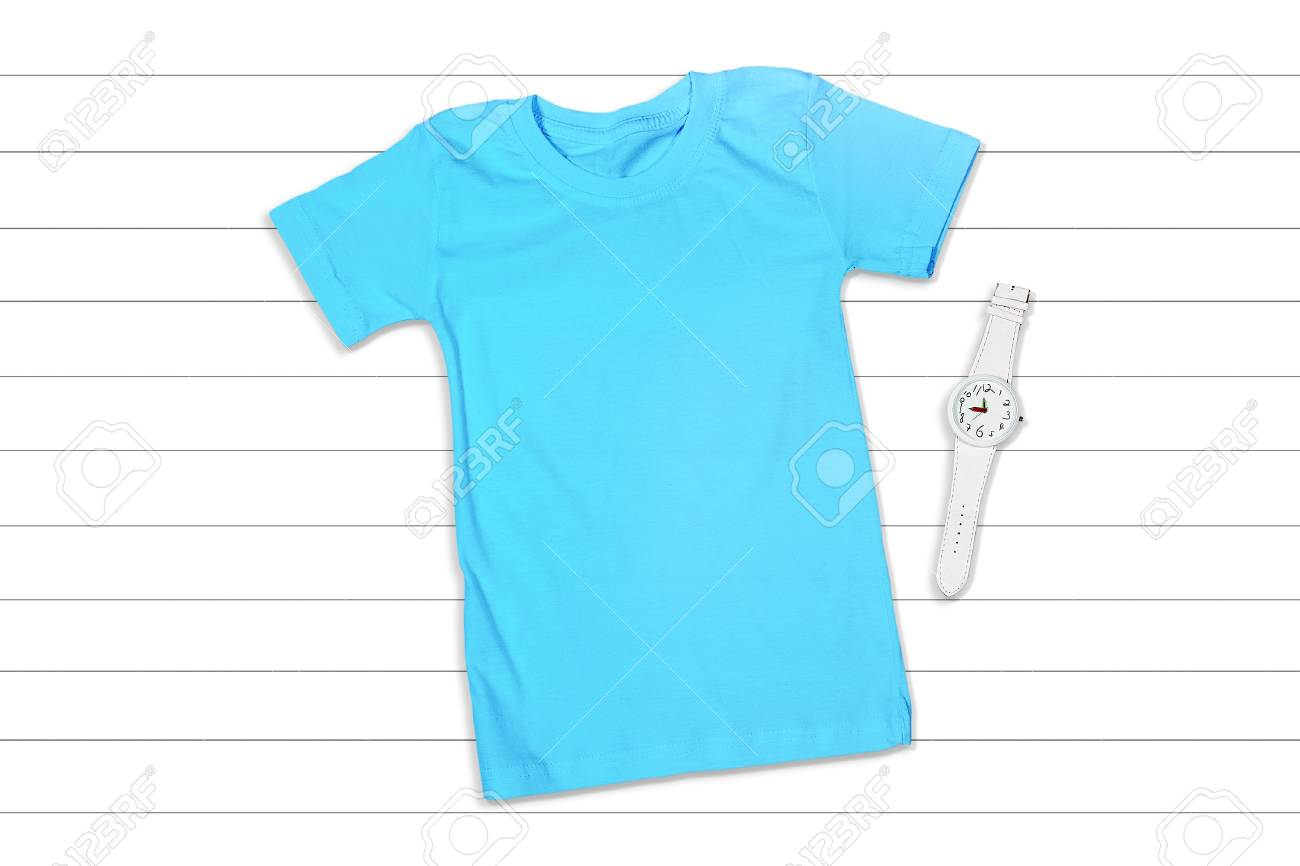 Blue Short Sleeve T Shirt Mockup On A White Wooden Background