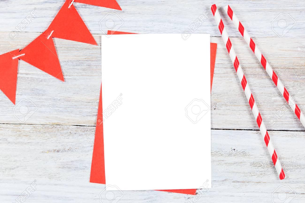 Greeting Card Mockup Birthday Or Party Invitation Blank Card