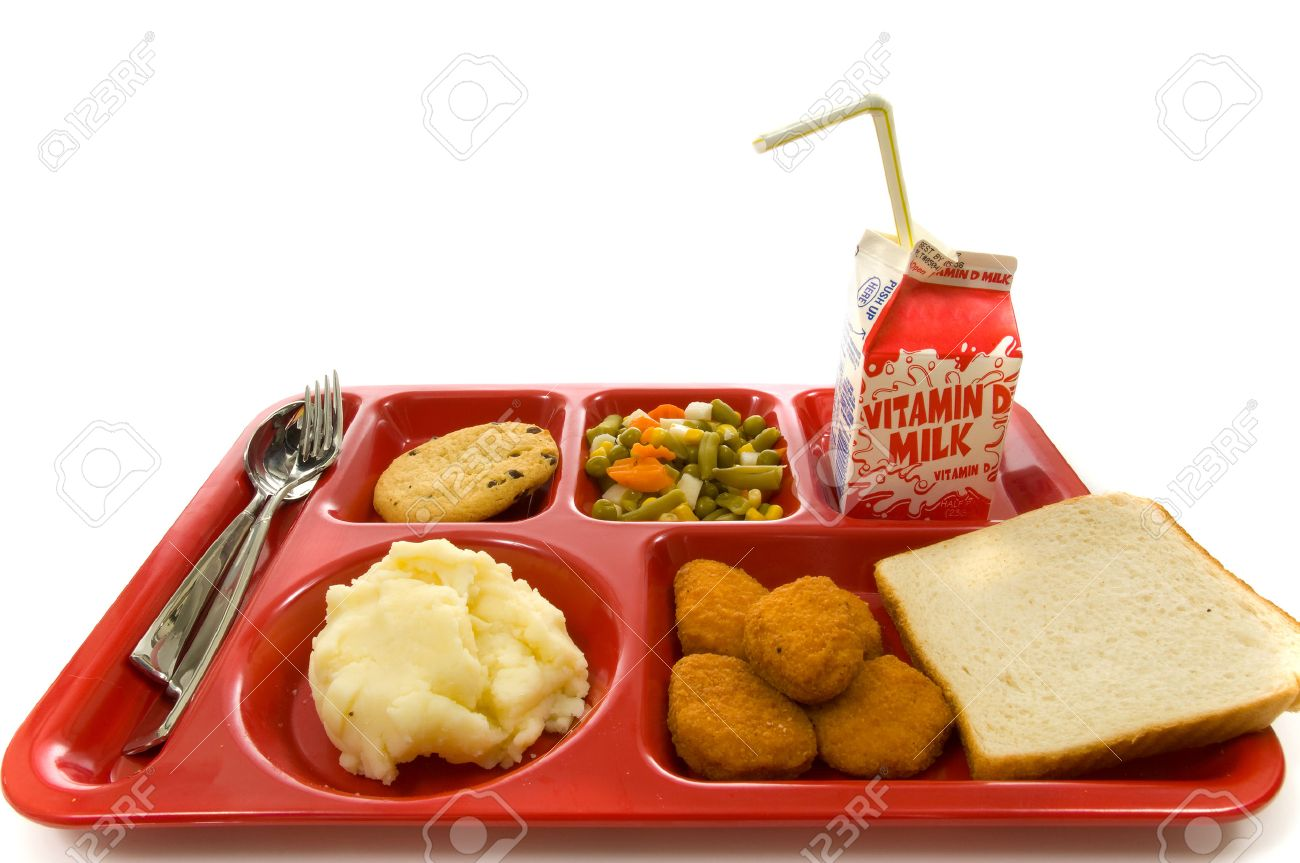 School lunch tray on white background Stock Photo - 1470042