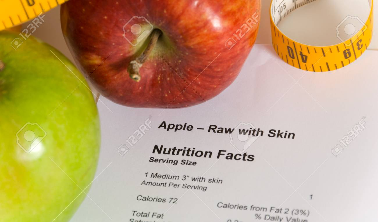 Nutrition Facts And Apples With A Tape Measure Items For Dieting Stock Photo Picture And Royalty Free Image Image 1559081