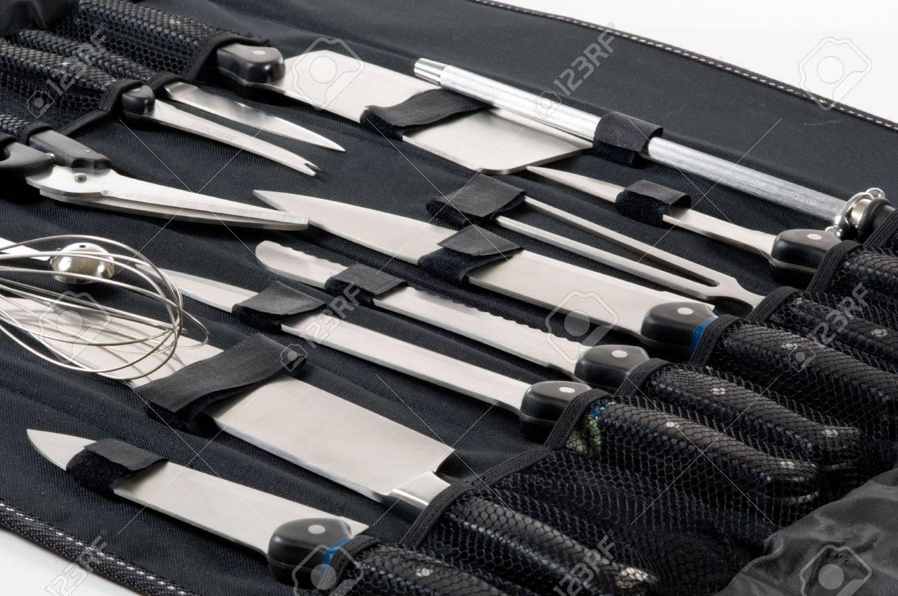 Professionelle Köche, Köche Messer In Schwarz Fall Auf Weißem ...