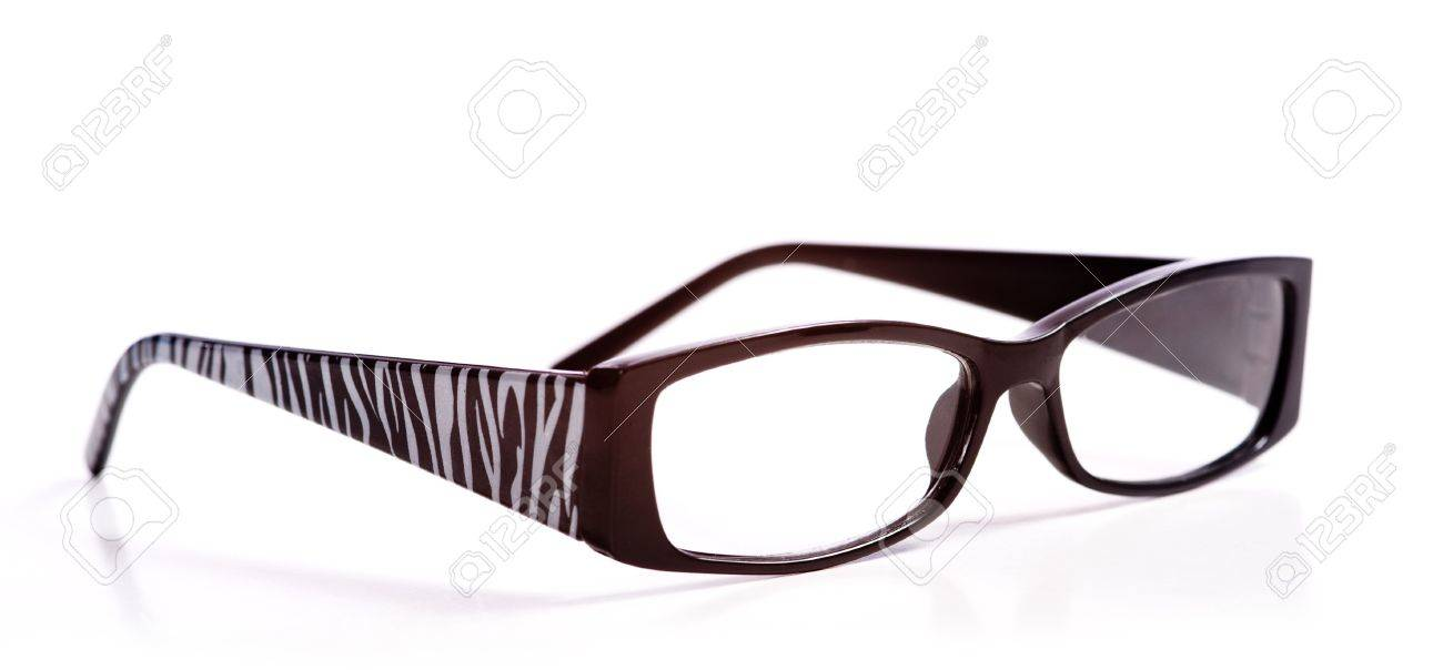 27fadac5ac Trendy reading glasses with zebra pattern on a white background Stock Photo  - 3038289