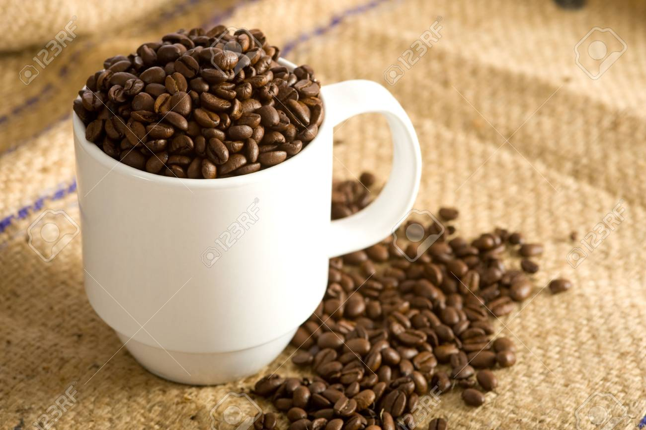 A white cup full of roasted coffee beans on a burlap coffee bean bag.  Background with copy space Stock Photo - 3874949