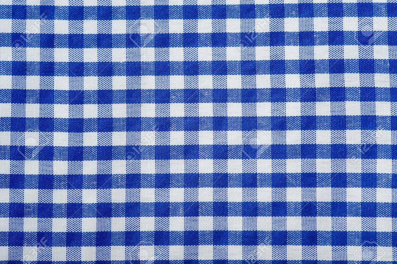 Blue tablecloth background - Blue Gingham Or Checked Tablecloth Background Stock Photo 3875078