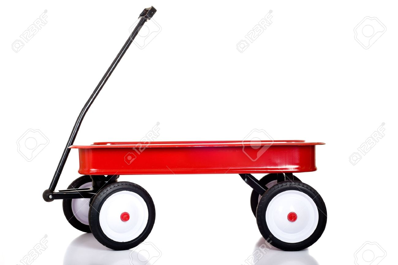 A Red Little Red Wagon On A White Background With Copy Space Stock Photo Picture And Royalty Free Image Image 4725478