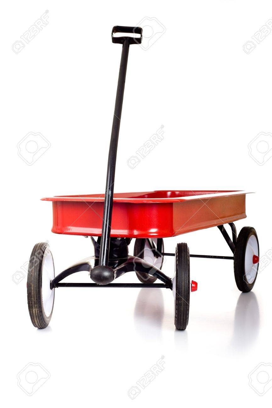 A Red Little Red Wagon On A White Background With Copy Space Stock Photo Picture And Royalty Free Image Image 4725481