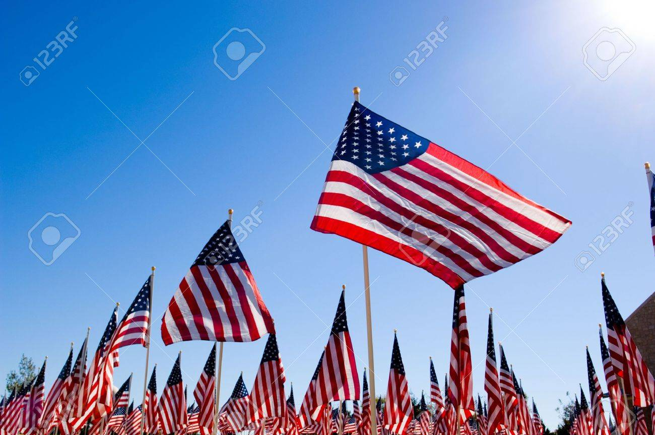 An Amercan Flag display for celebration of a National holiday like Fourth of July, Memorial Day, Veterans Day etc. Stock Photo - 4725866