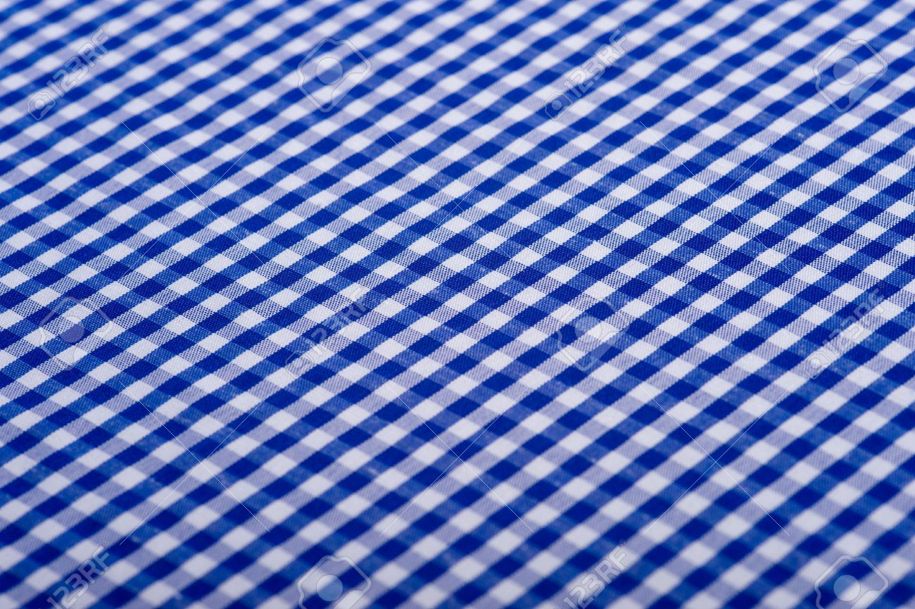 Blue Gingham Or Checked Tablecloth Background Stock Photo   4726040