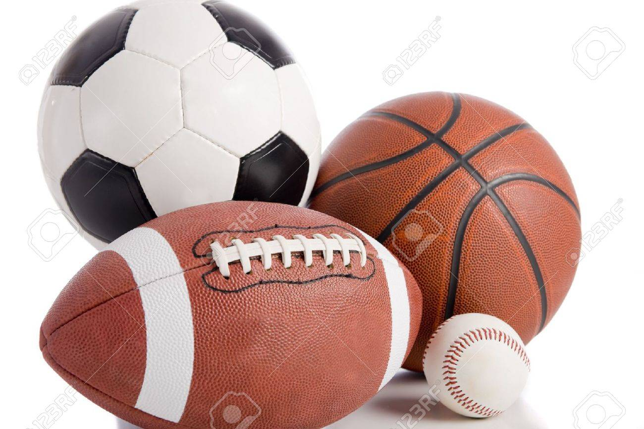 A group of sports balls on a white background, including a baseball, an American football, a basketball, and a soocer ball Stock Photo - 4754101